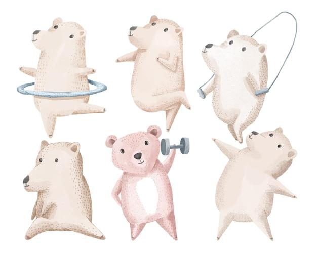 A família do urso faz exercícios com equipamentos como pesos, halteres, pular corda, bambolê, exercícios e dança.