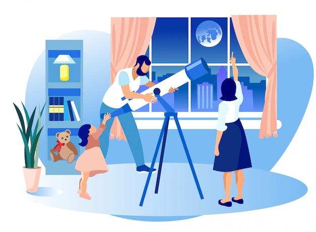 A família feliz contrata a astronomia ciência, telescópio