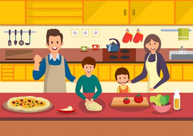 A família feliz dos desenhos animados cozinha a pizza na cozinha.