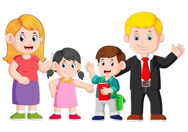 A família feliz está posando com o rosto feliz