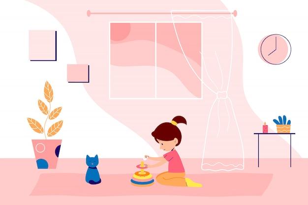 A família fica em casa em quarentena e passa um tempo juntos. menina está brincando com brinquedos. ilustração interior de estilo simples