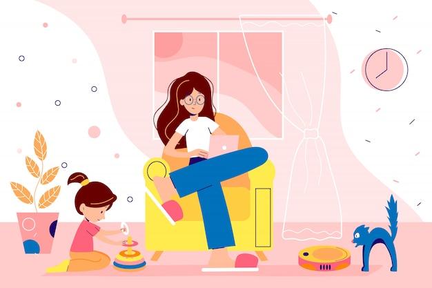 A família fica em casa em quarentena e passa um tempo juntos. mulher está trabalhando em casa remotamente. ilustração do estilo simples