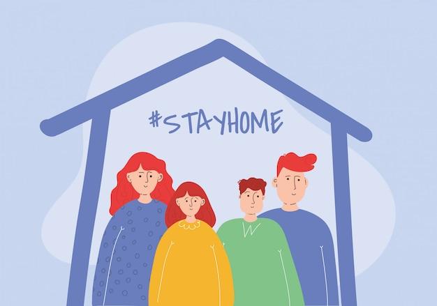 A família fica em casa para reduzir o risco de infecção.