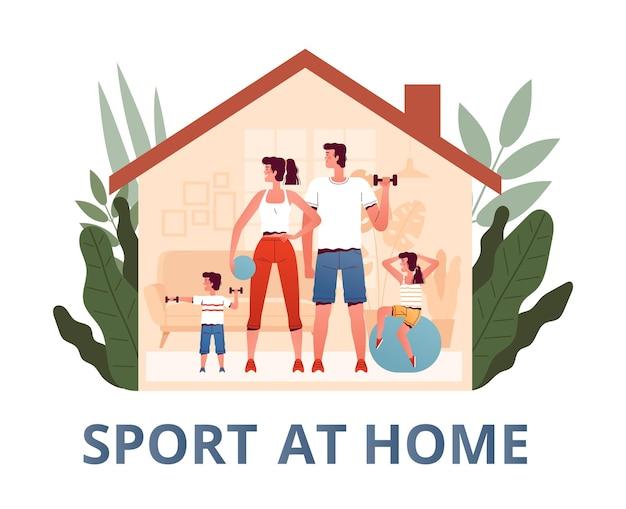 A família fica em casa praticando esportes