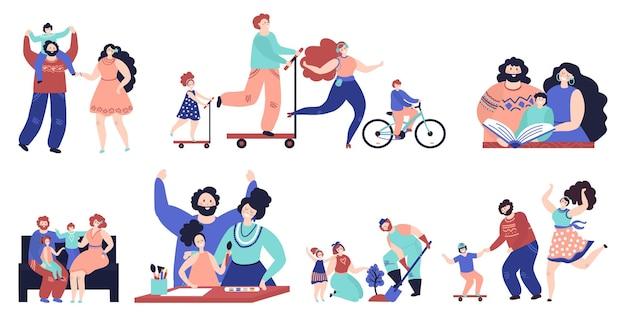A família passa um tempo junta. pais caminhando, crianças isoladas brincam em casa e ao ar livre. jovem pai mãe lendo desenho com conjunto de vetores de criança. ilustração família reunida tempo livre felicidade