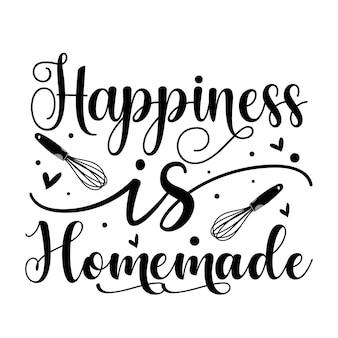 A felicidade é caseira elemento único de tipografia premium vector design