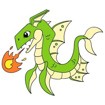 A fera mitológica do dragão verde desencadeou uma bola de fogo com sua habilidade principal, a arte de ilustração vetorial. imagem de ícone do doodle kawaii.