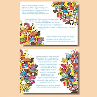 A festa de anos dos cartões com doces rabisca o fundo.
