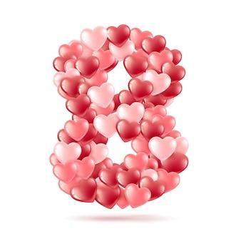 A figura oito é composta de balões em forma de coração.