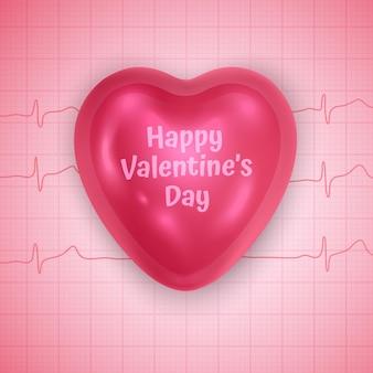 A figura volumétrica brilhante coração de cor rosa, cartão de felicitações do dia dos namorados.