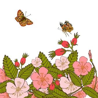 A flor abstrata romântica do verão do vintage ramifica o fundo com ilustração do vetor das borboletas do voo.