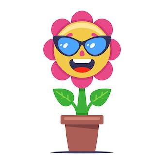 A flor desabrocha e toma sol ao sol. plantar em copos. personagem fofa sobre um fundo branco. ilustração