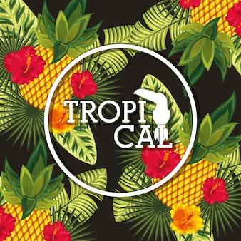 A flor tropical deixa o cartão animal
