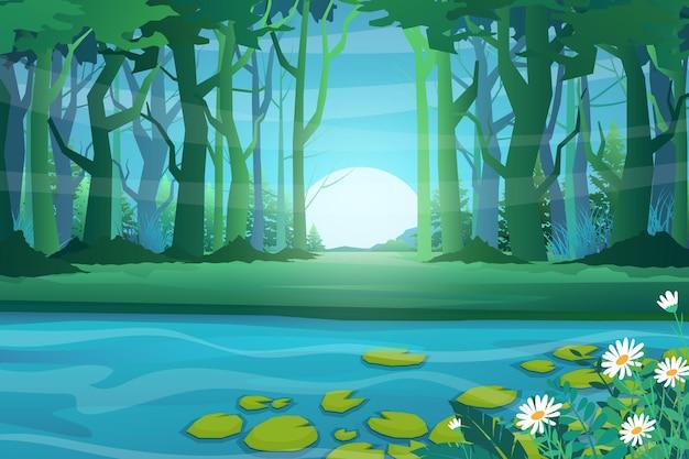 A floresta e o grande lago com lótus, ilustração do estilo dos desenhos animados da cena da natureza