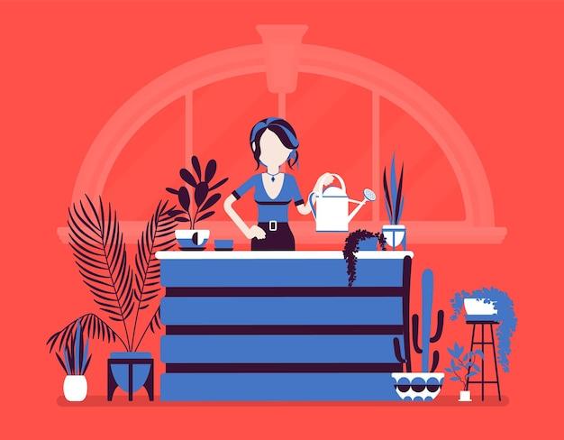 A florista vende, cultiva plantas ornamentais em casa. mulher feliz de dedos verdes regando flores em vaso, aproveitando o hobby de jardinagem interna, decoração de beleza natural da casa. ilustração vetorial, personagens sem rosto