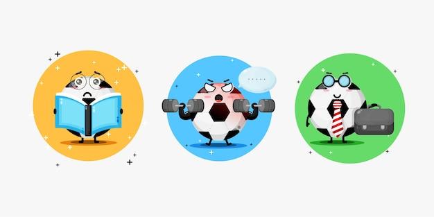A fofa mascote da bola de futebol realiza todos os tipos de atividades