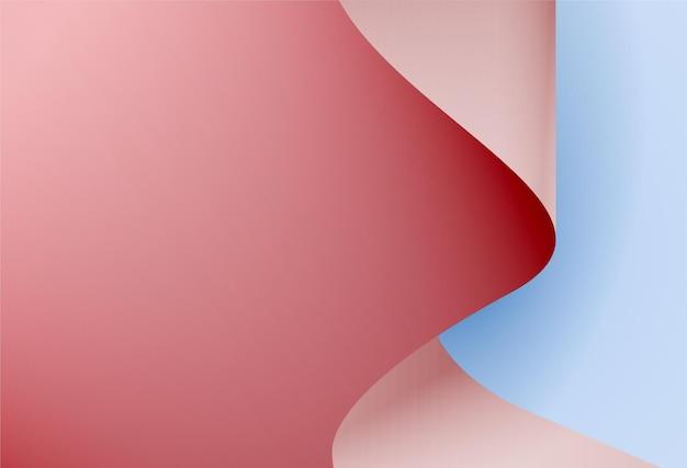 A folha de papel de onda rosa brilhante em um desenho vetorial de folha de papel azul claro