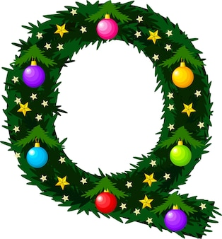 A fonte da letra q na forma de uma árvore de natal