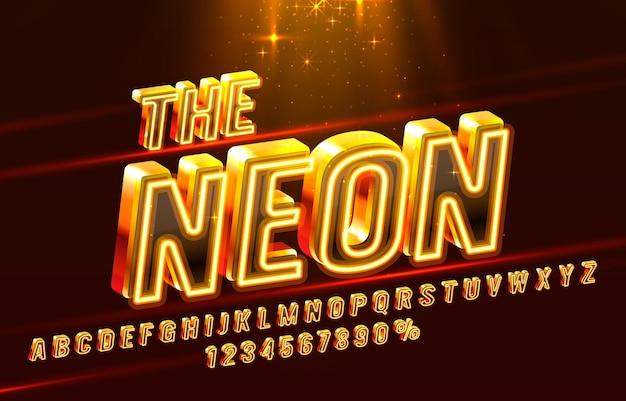 A fonte de néon definir letras de coleção e vetor de símbolo de números Vetor Premium