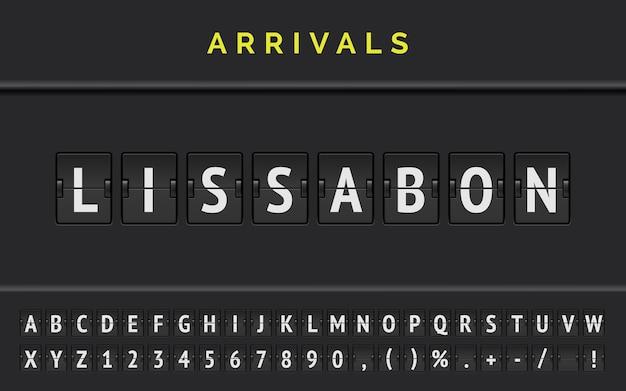 A fonte flipboard do mechanical airport exibe informações do voo de destino na europa: lissabon com o sinal de chegada da aeronave.