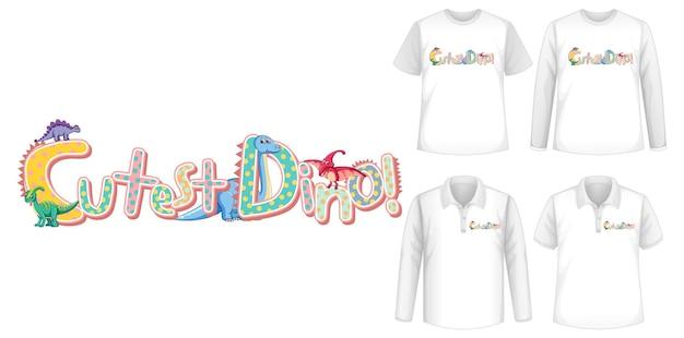 A fonte mais fofa do dino e o logotipo do personagem de desenho animado do dinossauro com diferentes tipos de camisas