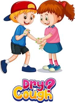 A fonte para tosse seca no estilo cartoon com duas crianças não mantém distância social isolada no branco