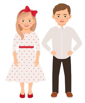 A forma bonito dos desenhos animados caçoa o par isolado. menino bonito e menina com ilustração vetorial de sorrisos