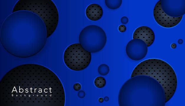 A forma circular azul se sobrepõe à grelha metálica
