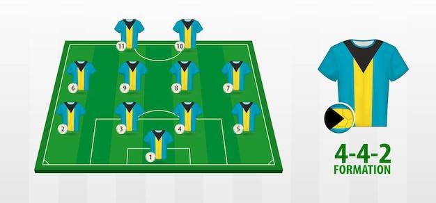 A formação da seleção nacional de futebol das bahamas no campo de futebol.