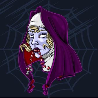 A freira zumbi ilustração vetorial de halloween Vetor Premium