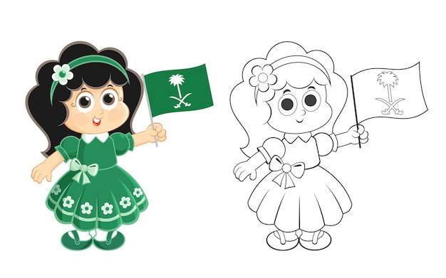 A garota da celebração do dia nacional da arábia saudita ksa está carregando a atividade da página para colorir do logotipo da bandeira