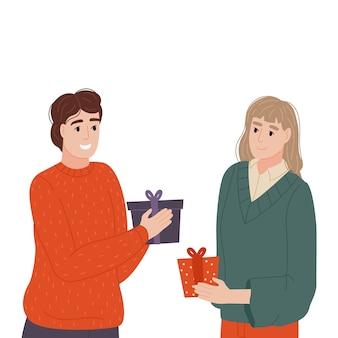 A garota e o cara têm pequenos presentes