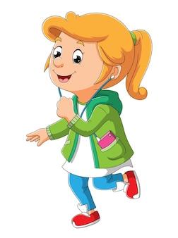 A garota esportiva está correndo e ouvindo a música da ilustração