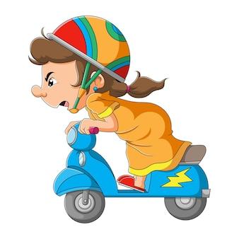 A garota está andando de moto com a alta velocidade da ilustração