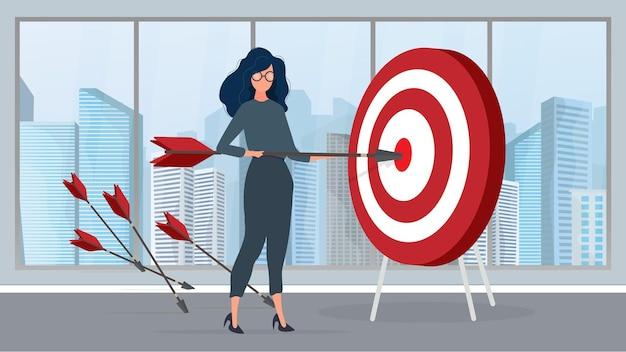 A garota está segurando uma flecha. a flecha atinge o alvo. o conceito de negócio de sucesso, trabalho em equipe e cumprimento de metas. vetor.