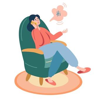 A garota está sentada em uma cadeira verde e falando ao telefone. elemento de design para banner, cartaz. personagem feminina, comunicação, trabalho em casa. ilustração em vetor plana pessoas.