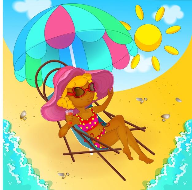 A garota está tomando banho de sol e bebendo suco.