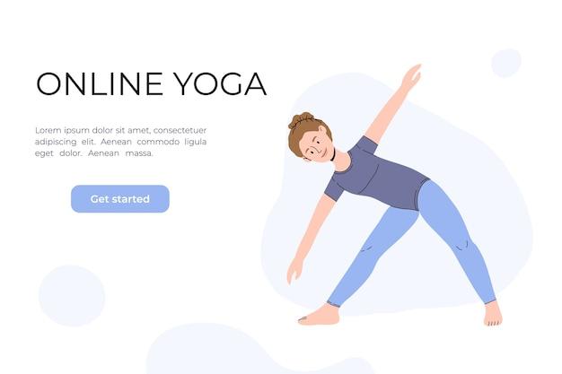 A garota faz ioga no vídeo. aulas de ioga online.