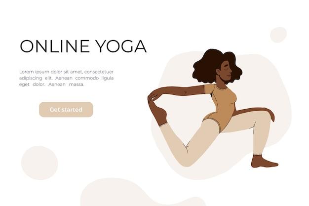 A garota faz ioga no vídeo.