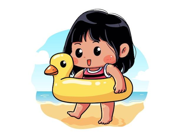 A garota fofa e kawaii do verão está feliz e anda com sua boia de pato chibi