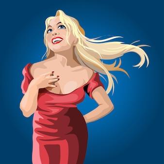 A garota loira de cabelos compridos fica em pé lindamente e ri. pose graciosa.