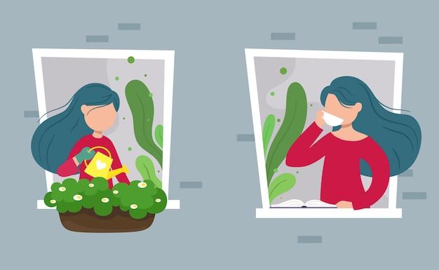 A garota na janela bebe café e regar flores, conjunto. ilustração em estilo simples dos desenhos animados.