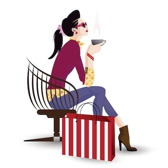 A garota na moda no estilo pop art. ilustração vetorial Vetor Premium