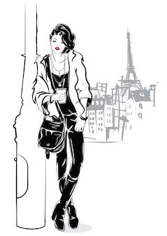 A garota na moda no estilo pop art. ilustração vetorial