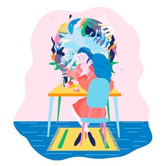 A garota no quarto na penteadeira em frente ao espelho. jovem mulher faz maquiagem.