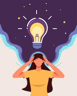 A garota pensando com o conceito de lâmpada brilhante