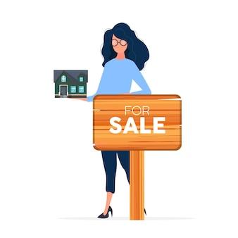 A garota se oferece para comprar uma casa. vender uma casa ou um imóvel. para sinal de venda. vetor