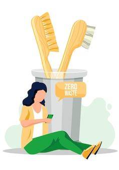 A garota se senta no chão com um smartphone nas mãos e escreve sms ou manda um e-mail.
