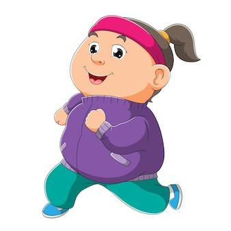 A garotinha gorda está correndo na manhã da ilustração