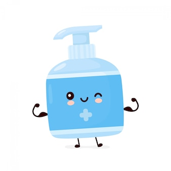 A garrafa anti-séptica de sorriso feliz bonito mostra o músculo. desenho animado personagem ilustração ícone do design. isolado no fundo branco